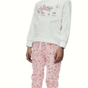 pijama niña manga larga camiseta gris y pantalon rosa leopardo