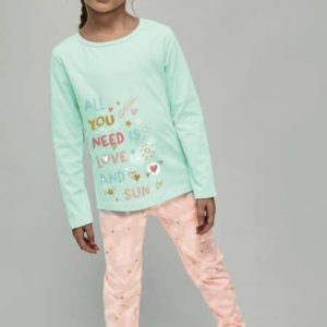 pijama niña largo camiseta manga larga verde y pantalon rosa estampado plumas puños