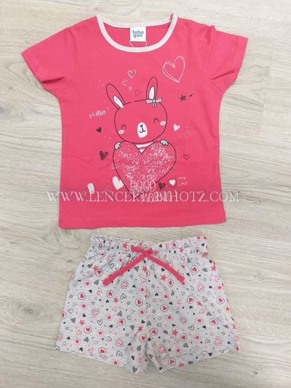 pijama niña corto, camiseta manga corta fuxia conejo,bermuda estampada fondo gris