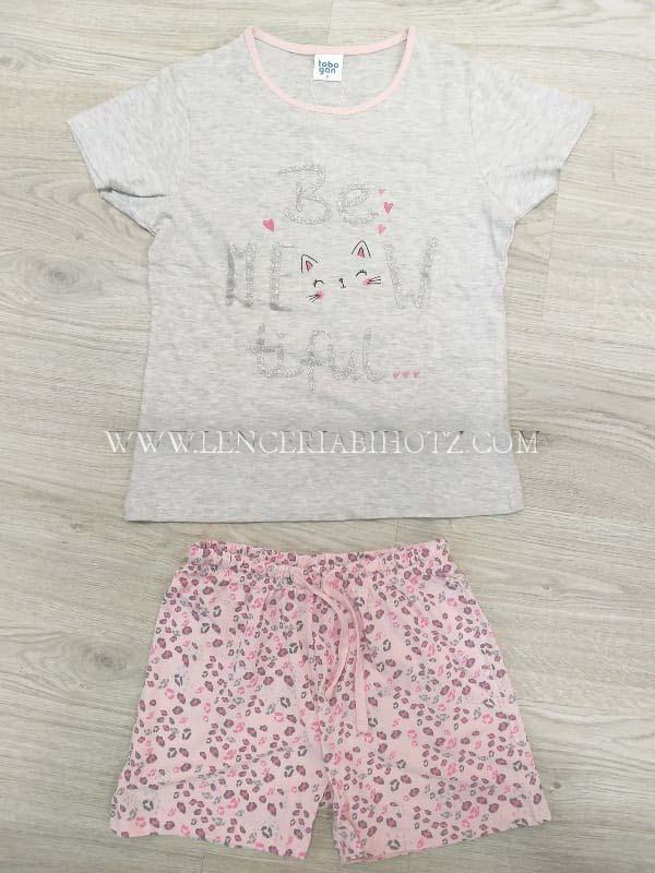 pijama niña manga corta. Camiseta gris y bermuda rosa con estampado leopardo y cordon