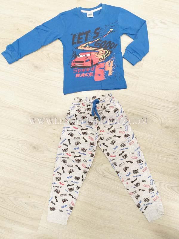 pijama niño largo puños camiseta azul dibujo cars. Pantalon gris estampado coches