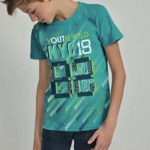 pijama niño corto verano,manga corta verde con letras y bermuda marino con cordon ajustable