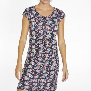 vestido cuello redondo estampado flores fondo marino, volantito en la manga, corte recto amplio