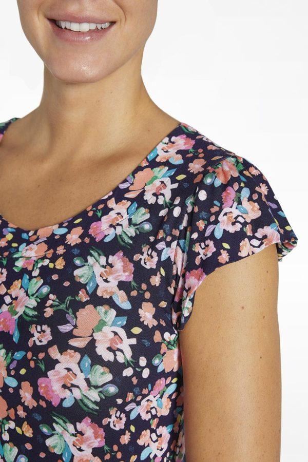 vestido verano con volante en la manga, estampado flores