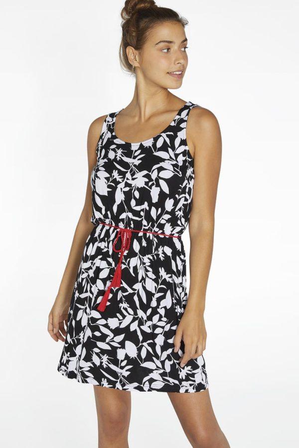 vestido negro con hojas en blanco, escote redondo, tirantes anchos, con cinturilla de goma, corto