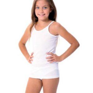 camiseta interior niña blanca tirante fino algodon