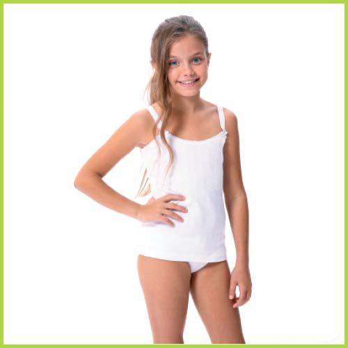camiseta tirante niña blanca raya calada vertical