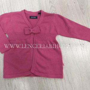 chaqueta punto bebe color frambuesa semi abierta con lazo