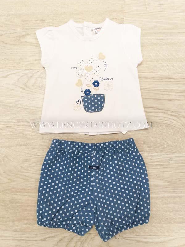 conjunto manga corta bermuda algodon lunares blancos