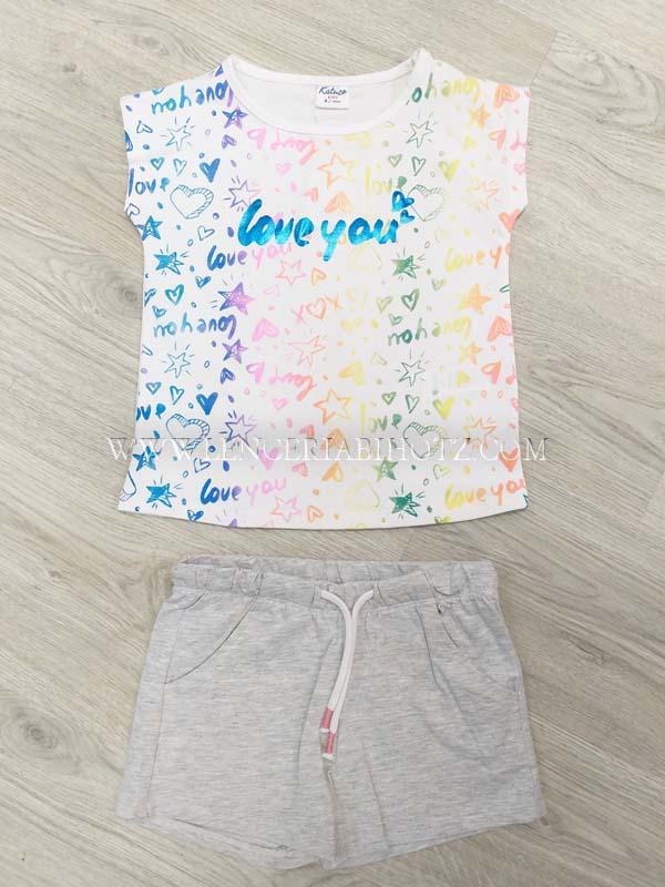 conjunto niña short y camiseta sin mangas con brillos. Bolsillos