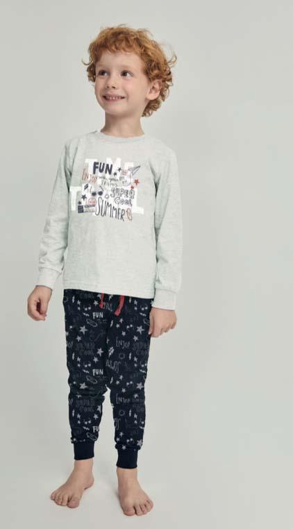 pijama largo niño algodon. Camiseta gris puños. Pantalon estampado marino puños