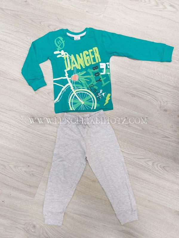 pijama largo niño algodon. Camiseta larga puños verde, pantalon puños cordon ajustable gris
