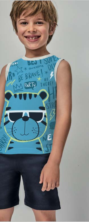 pijama niño verano sin mangas camiseta azul con oso. Bermuda lisa con cordon