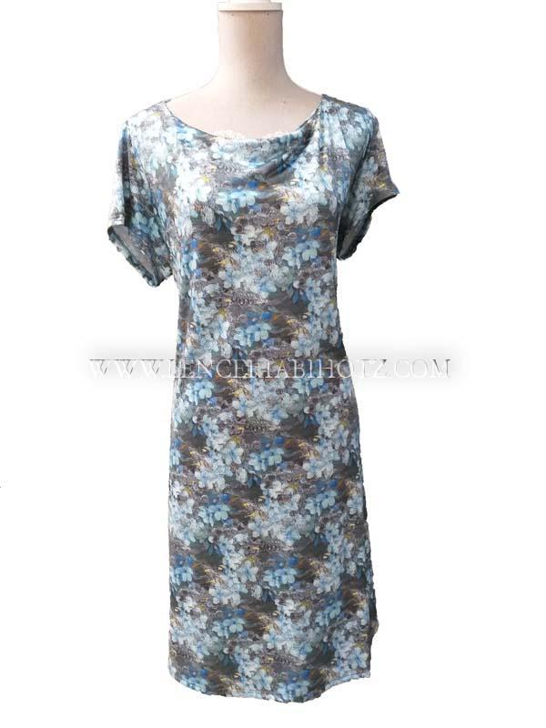 vestido mujer verano fino cuello barco y manga corta. Estampado floral. tonos gris y azules
