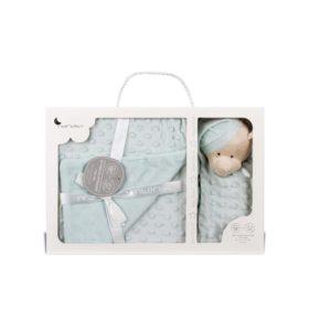 caja regalo manta + dou dou en verde agua, cabeza de oso con gorro de dormir