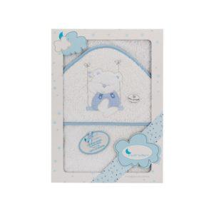 capa baño blanca con capucha y remates en azul. Bordado osito columpio