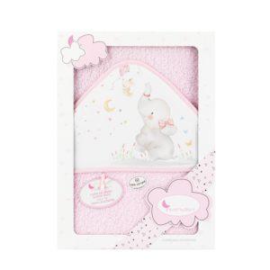 capa baño rosa rizo con capucha blanca estampado elefanta