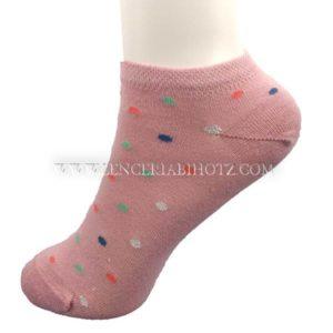 calcetin tobillero invisible mujer rosa palo con lunares de colores