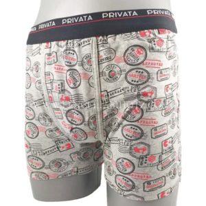 boxer algodon hombre con goma negra con letras exterior, esatmpado sellos con letras rojas en fondo gris