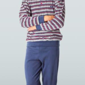 pijama hombre camiseta rayas con puños y botones. Pantalon con puños en azul con felpa