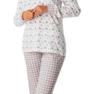 pijama invierno lago con botones y puños en las mangas. Pantalon de cuadros gris y blanco, camiseta blanca con abetos en gris