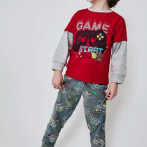 pijama manga larga algodon coon puños. Pantalon estampado gris marengo y camiseta roja con mangas en gris. Dibujo videojuegos