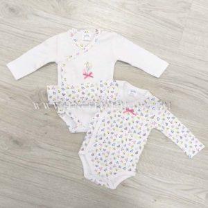 bodies niña manga larga blancos con detalles florecitas. Cruzados