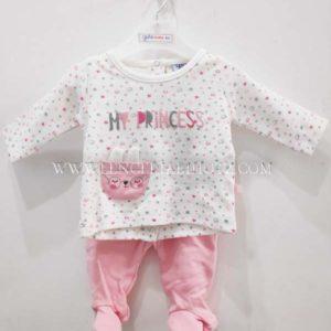 conjunto bebe manga larga algodon. Polaina rosa y camiseta blanca corchetes traseros estampado rosa corazones y bolsillo