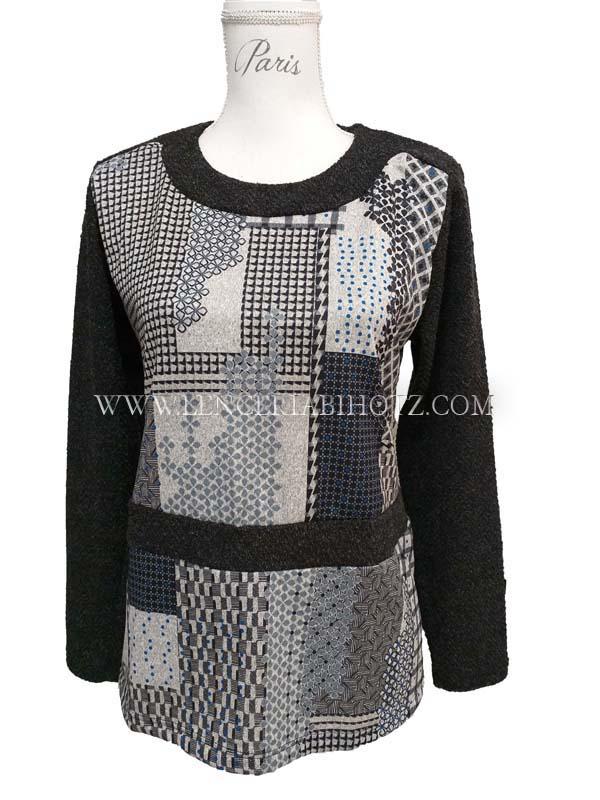 jersey mujer mangas y cuello en punto negro. Cuerpo camiseta estampado gris collage