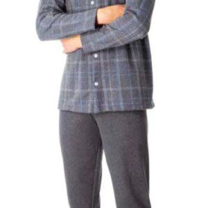 pijama hombre chaqueta abierta con cuellos y botones. Felpa, Gris marengo