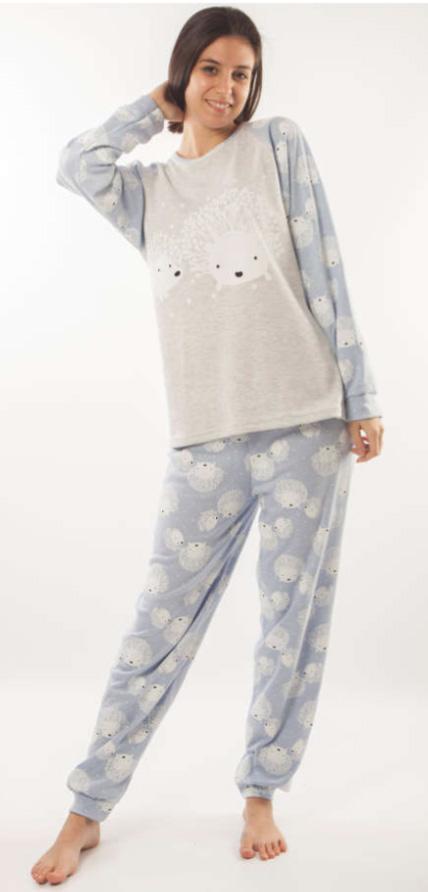 pijama mujer felpa azul estampado mangas y pantalon erizo en blanco