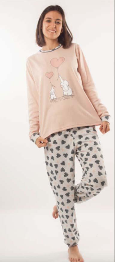 pijama mujer felpa con puños. Camiseta rosa maquillaje dibujos elefantes. Pantalon gris claro con corazones gris oscuro y rosa