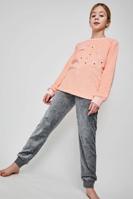 pijama niña terciopelo puños, camiseta coral suave brillantes, pantalon gris marengo estampado